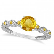 Vintage Style Yellow Sapphire Engagement Ring 14k White Gold (1.18ct)