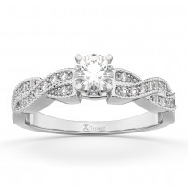 Infinity Twisted Diamond Engagement Ring 14k White Gold (0.25ct)