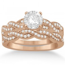 Infinity Style Bridal Set w/ Diamond Accents 14k Rose Gold (0.55ct)