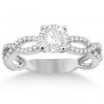 Pave Diamond Infinity Eternity Engagement Ring 18k White Gold (0.40ct)