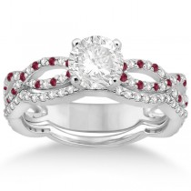 Infinity Diamond & Ruby Engagement Ring with Band 14k White Gold (0.65ct)