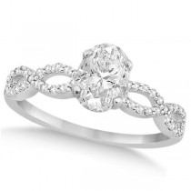 Twisted Infinity Oval Diamond Engagement Ring 14k White Gold (0.75ct)