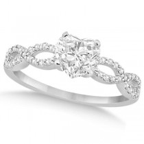 Twisted Infinity Heart Diamond Engagement Ring 14k White Gold (1.50ct)