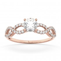 Twisted Infinity Diamond Engagement Ring Setting 18K Rose Gold (0.21ct)