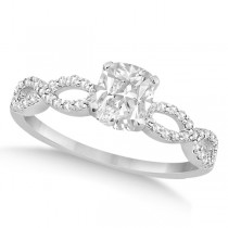 Infinity Cushion-Cut Diamond Engagement Ring 14k White Gold (0.75ct)