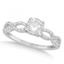 Twisted Infinity Round Diamond Engagement Ring 14k White Gold (1.00ct)