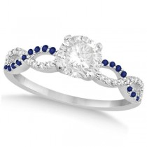 Infinity Round Diamond Blue Sapphire Engagement Ring 14k White Gold (0.50ct)