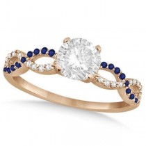 Infinity Round Diamond Blue Sapphire Engagement Ring 14k Rose Gold (0.75ct)