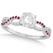 Infinity Round Diamond Ruby Engagement Ring 14k White Gold (1.50ct)
