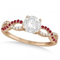 Infinity Round Diamond Ruby Engagement Ring 14k Rose Gold (2.00ct)