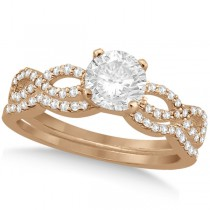 Twisted Infinity Round Diamond Bridal Ring Set 18k Rose Gold (1.63ct)