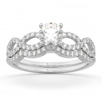 Infinity Twisted Diamond Matching Bridal Set 14K White Gold (0.34ct)
