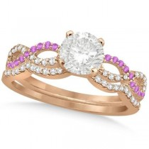 Infinity Round Diamond Pink Sapphire Bridal Set 14k Rose Gold (0.63ct)