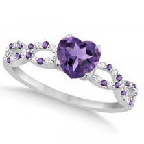 Diamond & Amethyst Heart Infinity Engagement Ring 14k W Gold 1.50ct