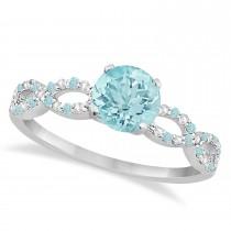 Infinity Diamond & Aquamarine Engagement Ring 14K White Gold 0.90ct
