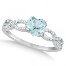 Diamond & Aquamarine Heart Infinity Engagement Ring 14k W Gold 1.50ct
