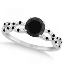 Diamond & Black Diamond Infinity Engagement Ring 14K White Gold 0.96ct
