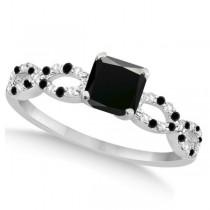 Black & White Diamond Princess Infinity Engagement 14k W. Gold 1.31ct