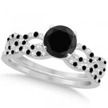 Infinity Style Black Diamond & Diamond Bridal Set 14k White Gold 0.85ct
