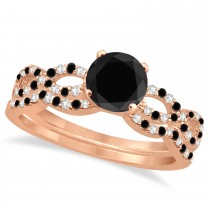Infinity Style Black Diamond and Diamond Bridal Set 14k Rose Gold 0.85ct