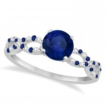 Diamond & Blue Sapphire Infinity Engagement Ring 14K White Gold 1.45ct