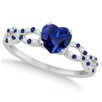 Diamond & Blue Sapphire Heart Infinity Engagement 14k W Gold 1.50ct