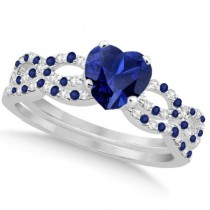 Blue Sapphire & Diamond Heart Infinity Bridal Set 14k W. Gold 1.74ct