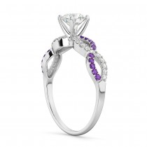 Infinity Diamond & Amethyst Engagement Ring in 14k White Gold (0.21ct)