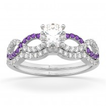 Infinity Diamond & Amethyst Engagement Ring Set 14k White Gold 0.34ct