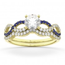 Infinity Diamond & Blue Sapphire Bridal Set in 18K Yellow Gold 0.34ct