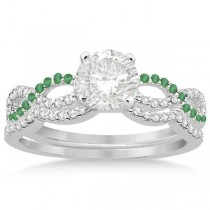 Infinity Diamond & Emerald Engagement Ring Set 14k White Gold 0.34ct