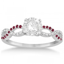 Infinity Diamond & Ruby Gemstone Engagement Ring 18K White Gold 0.21ct