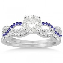 Infinity Diamond & Tanzanite Engagement Ring Set 18k White Gold 0.34ct