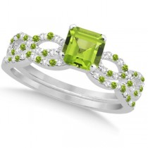 Peridot & Diamond Princess Infinity Bridal Set 14k White Gold 1.45ct