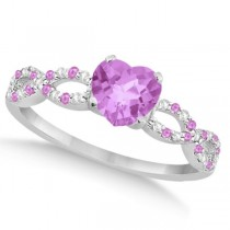 Diamond & Pink Sapphire Heart Infinity Engagement 14k W Gold 1.50ct