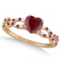 Ruby & Diamond Heart Infinity Style Bridal Set 14k Rose Gold 1.75ct