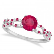 Infinity Diamond & Ruby Engagement Ring 14K White Gold 1.05ct