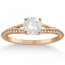 Knife Edge Diamond Engagement Ring 14k  Rose Gold Setting (0.18ct)