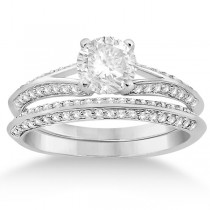 Knife Edge Diamond Engagement Ring with Band Platinum (0.40ct)