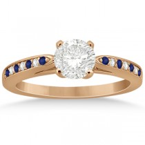 Cathedral Blue Sapphire Diamond Engagement Ring 18k Rose Gold 0.26ct