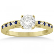 Cathedral Blue Sapphire Diamond Engagement Ring 18k Yellow Gold 0.26ct