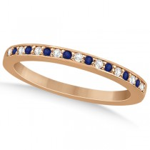 Cathedral Blue Sapphire & Diamond Wedding Band 14k Rose Gold 0.29ct