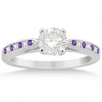 Amethyst & Diamond Engagement Ring 14k White Gold 0.26ct