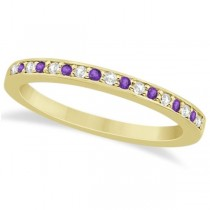 Amethyst & Diamond Wedding Band 14k Yellow Gold 0.29ct