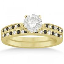 Black & White Diamond Engagement Ring Set 18k Yellow Gold (0.55ct)