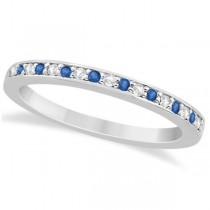 Blue Topaz & Diamond Wedding Band Palladium 0.29ct