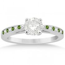 Peridot & Diamond Engagement Ring Platinum 0.26ct