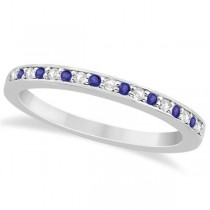 Tanzanite & Diamond Wedding Ring Band Palladium 0.29ct