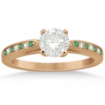Cathedral Green Emerald Diamond Engagement Ring 14k Rose Gold 0.22ct