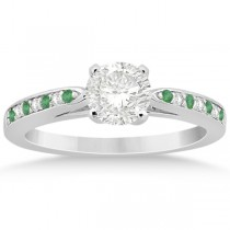 Cathedral Green Emerald Diamond Engagement Ring 18k White Gold 0.22ct